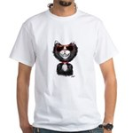 Black-White Cartoon Cat (sg) White T-Shirt