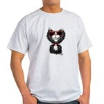 Black-White Cartoon Cat (sg) Light T-Shirt