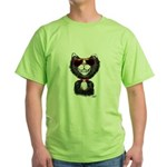 Black-White Cartoon Cat (sg) Green T-Shirt