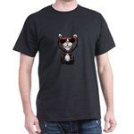Black-White Cartoon Cat (sg) Dark T-Shirt