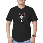 Black-White Cartoon Ca Men's Fitted T-Shirt (dark)