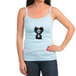 Black-White Cartoon Cat (sg) Jr. Spaghetti Tank
