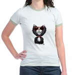 Black-White Cartoon Cat (sg) Jr. Ringer T-Shirt