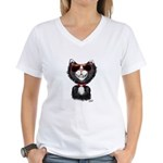 Black-White Cartoon Cat (sg Women's V-Neck T-Shirt