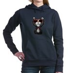 Black-White Cartoon Cat Women's Hooded Sweatshirt
