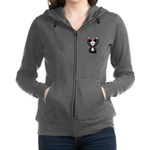 Black-White Cartoon Cat (sg) Women's Zip Hoodie