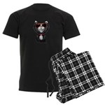 Black-White Cartoon Cat (sg) Men's Dark Pajamas