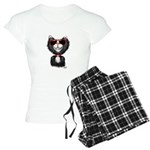Black-White Cartoon Cat (sg Women's Light Pajamas