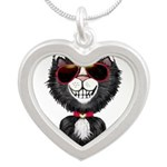 Black-White Cartoon Cat (sg) Silver Heart Necklace
