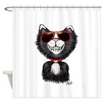Black-White Cartoon Cat (sg) Shower Curtain
