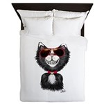 Black-White Cartoon Cat (sg) Queen Duvet