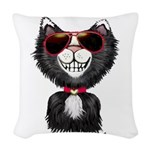Black-White Cartoon Cat (sg) Woven Throw Pillow