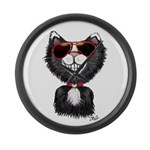 Black-White Cartoon Cat (sg) Large Wall Clock