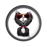 Black-White Cartoon Cat (sg) Wall Clock