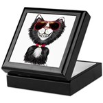 Black-White Cartoon Cat (sg) Keepsake Box
