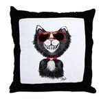 Black-White Cartoon Cat (sg) Throw Pillow