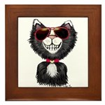 Black-White Cartoon Cat (sg) Framed Tile
