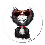 Black-White Cartoon Cat (sg) Round Car Magnet