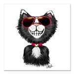 Black-White Cartoon Cat Square Car Magnet 3