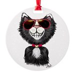 Black-White Cartoon Cat (sg) Round Ornament