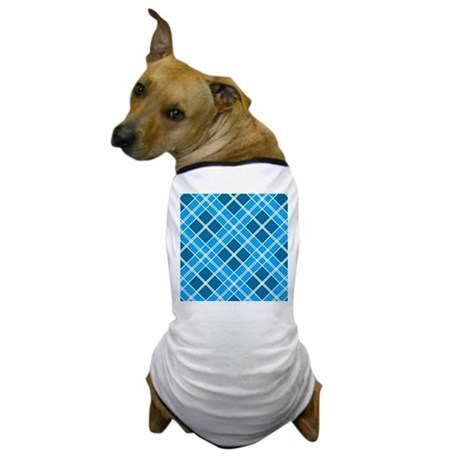 Blue Diamond Plaid Dog T-Shirt