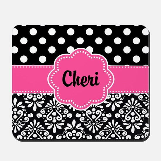 Pink Dots Damask Personalized Mousepad