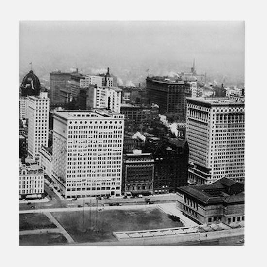 Michigan Avenue in Chicago (1911) Tile Coaster