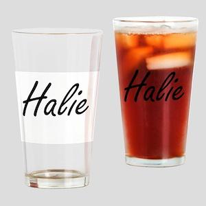Halie artistic Name Design Drinking Glass