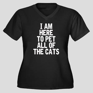 Here To Pet  Women's Plus Size V-Neck Dark T-Shirt