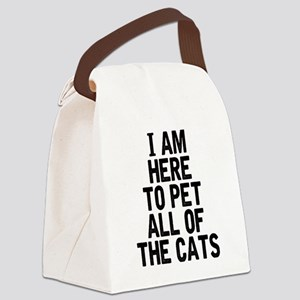 Here To Pet All Of The Cats Canvas Lunch Bag