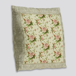 Summer at the Cottage Roses Ch Burlap Throw Pillow
