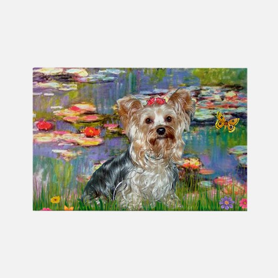 LILIES / Yorkie (T) Rectangle Magnet