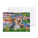 LILIES / Yorkie (T) Greeting Cards (Pk of 10)