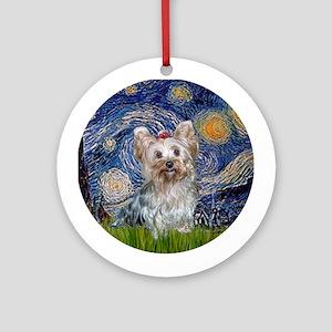 Starry Night Yorkie (T) Ornament (Round)
