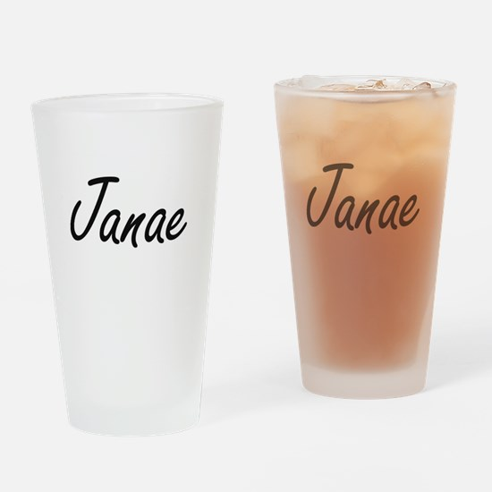 Janae artistic Name Design Drinking Glass