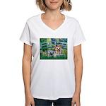 Bridge / Yorkie (T) Women's V-Neck T-Shirt