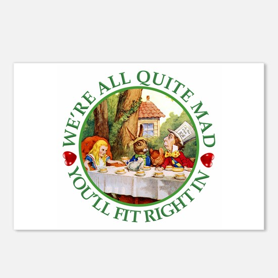 We're All Quite Mad, You' Postcards (Package of 8)