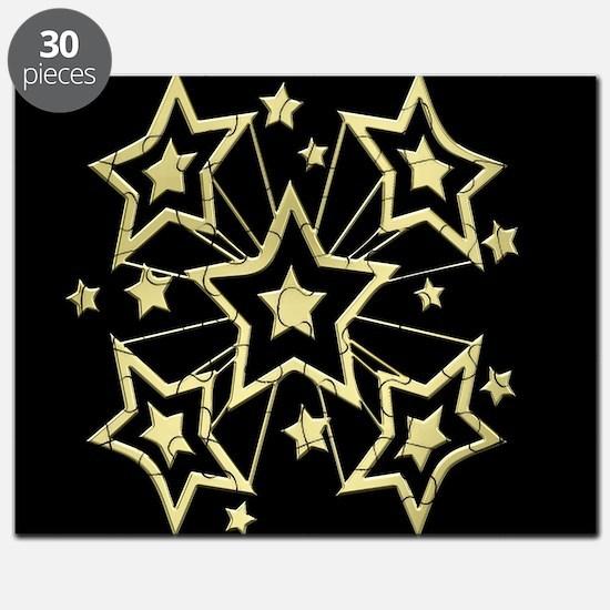 Gold Pow Stars on Black Puzzle
