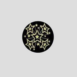 Gold Pow Stars on Black Mini Button