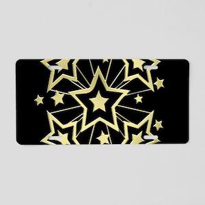 Gold Pow Stars on Black Aluminum License Plate