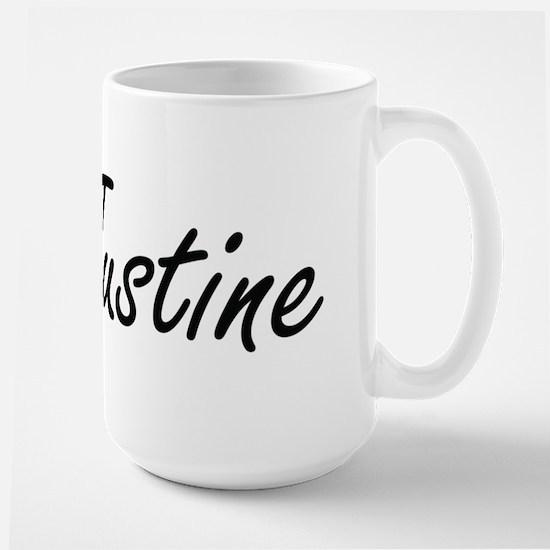 Justine artistic Name Design Mugs