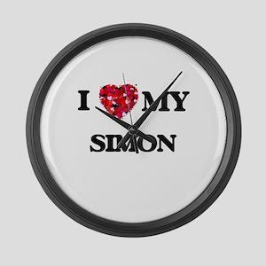 I Love MY Simon Large Wall Clock