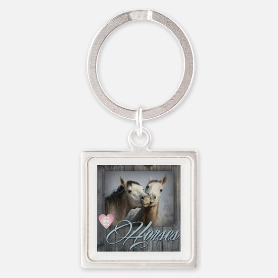 Cool White horse Square Keychain