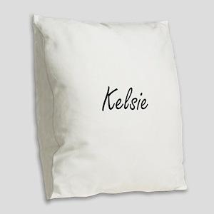 Kelsie artistic Name Design Burlap Throw Pillow