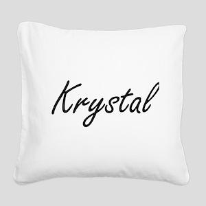Krystal artistic Name Design Square Canvas Pillow