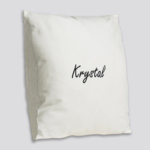 Krystal artistic Name Design Burlap Throw Pillow