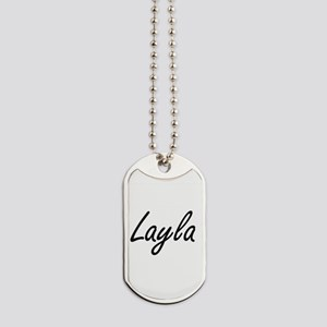 Layla artistic Name Design Dog Tags