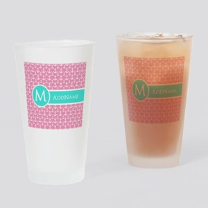 Aqua and Pink Anchor Pattern Personalized Drinking