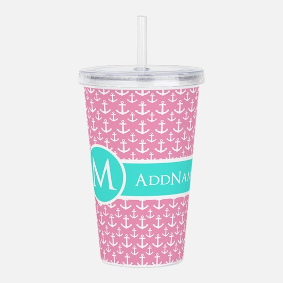 Aqua and Pink Anchor Pattern Personalized Acrylic