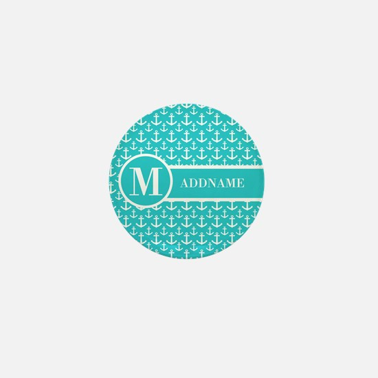 Teal and White Anchors Monogram Mini Button